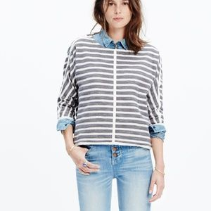 Madewell Striped Back Zip Sweater Top Size Medium
